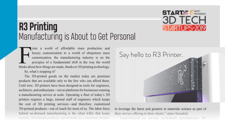 StartupCity: R3 Printing Among the 15 Most Promising 3D Tech Startups of 2019 (2)